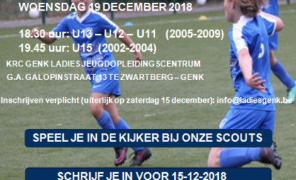Open training op woensdag 19 december